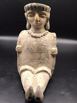 Antque Qulity Very Ancient Old Roman Lady Statue Terccotay Colour Painted Ryhton