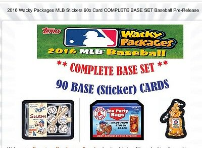 2016 Topps **Wacky Packages Mlb** Complete Set 90 Cards**Brand New-+Bonus Wrapr*
