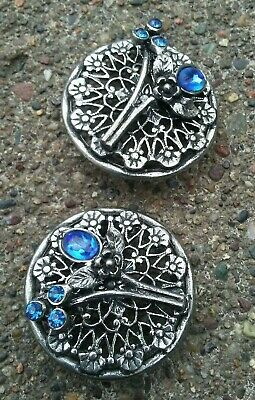 """Vintage pair of blue rhinestone on metal  1.25"""" clothes buttons."""