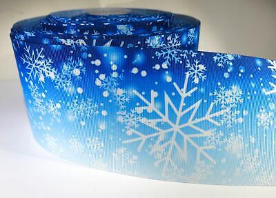 "5 yards of 3 inch ""snowflake"" grosgrain ribbon"