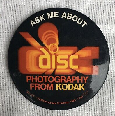 """Vintage 1982 Ask Me About Disc Photography From Kodak Button 3"""""""