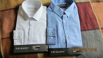 Two New Primark Shirts Size 15 Slimfit Blue & White