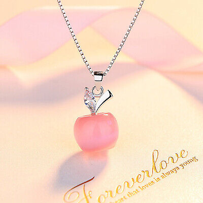 REAL SOLID SILVER 925 Classic Sterling Silver Necklace & Pendant  Apple-093