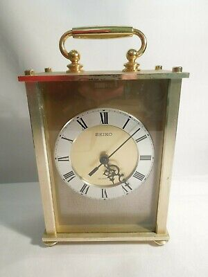 Seiko Quartz Carriage Clock Brass w/ Glass Lens Silent Movement Made in Japan