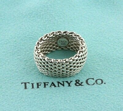 Tiffany & Co. Sterling Silver 925 10mm Classic Somerset Mesh Band Ring- Size 6.5