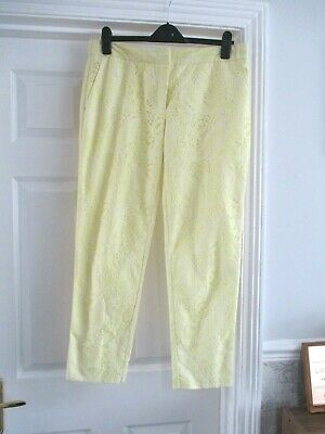 River Island Size 14 yellow lace overlay floral ankle skim slim leg trousers