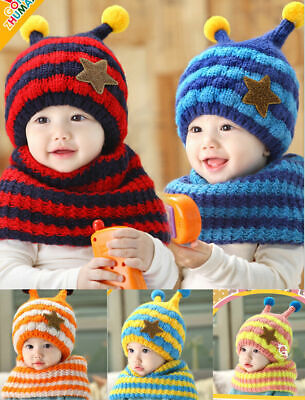 Fashion Winter Warm Girls Boys Baby-Cap-Kids-Hat-and-Scarf-Set-Five-Pointed-Star