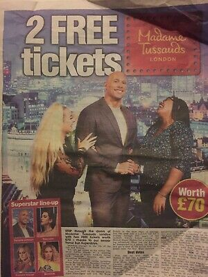 The Sun Newspaper x2 Tickets to Madame Tussaud's London Promotions