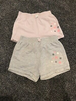 2 Pairs Of George Girls Grey & Pink Shorts Age 7-8 Years