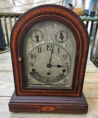 """Vintage German Inlaid Bracket Dome Clock Westminster Chime Silver Dial 15 x 11"""""""
