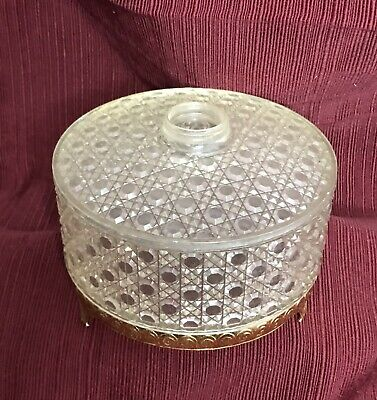 Vintage Avon Lucite Acrylic Powder Puff Container Diamond Waffle Pattern