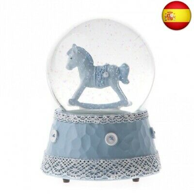 Gisela Graham Baby Boy Rocking Horse Musical Snow Globe