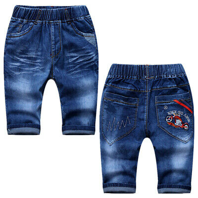 IENENS Kids Boy Jeans Denim Short Trousers Clothes Young Boys Stylish Slim Pants