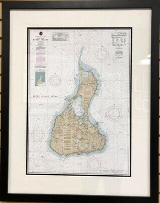 Framed Block Island  Nautical Chart  (New Reproduction Print  ) NOT antique