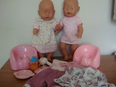 2 X Baby Born Hard Plastic Dolls - Pink Eyes - Zapf Creations