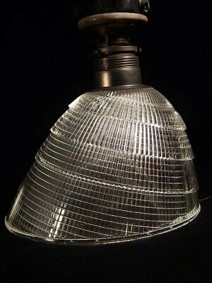 "Vintage 9"" Holophane Deco Industrial Ribbed Lamp Shade With Fittings Steampunk"