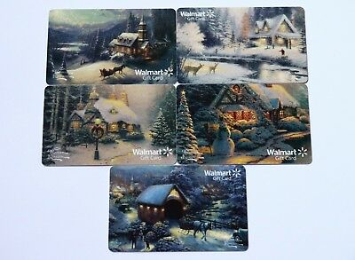 Lot of 5 Walmart Winter Motives Christmas Holidays Gift Card Collectible $0 New