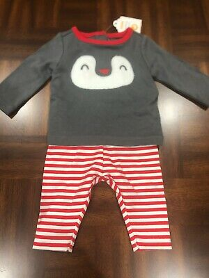 NWT Gymboree baby boy girl red penguin HOLIDAY 2-piece SET newborn 0 3 6 TWINS