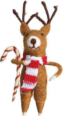 Country Christmas Reindeer with Candy Cane Ornament Figure Primitive NEW