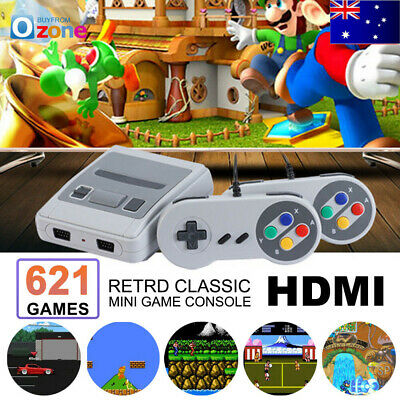 Classic Super Nintendo Mini Game Console Built-in 621 Games TV AV HDMI Gamepads