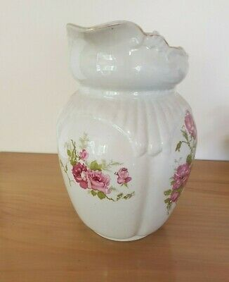 ANTIQUE VICTORIAN style, WATER JUG PITCHER POTTERY with pink rose decoration.