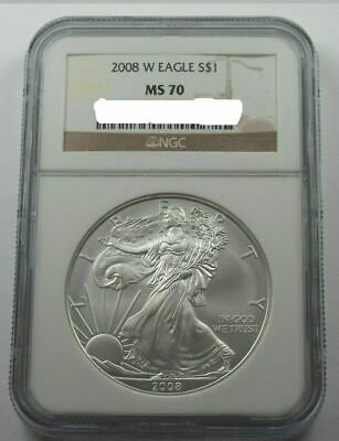One 2008-W Burnished Silver American Eagle NGC MS-70 (Brown Label)