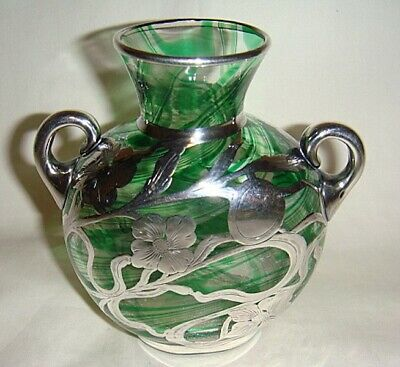 Vintage Sterling Silver Overlay Art Glass Vase - Fabulous!