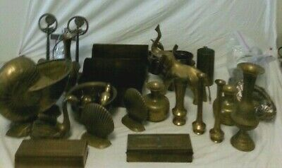 Brass Set of Various Things huge heavy lot india indian antique