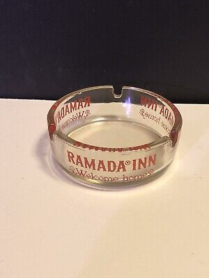 Ramada Inn Welcome Home Clear Glass Ashtray With Red Lettering Vintage Hotel (O)