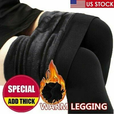Women Winter Thermal Leggings Thick Warm Fleece lined Stretch Slim Solid Pants