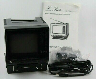 La Petite 4.5 Inch Miniature Portable TV Black and White with Bag