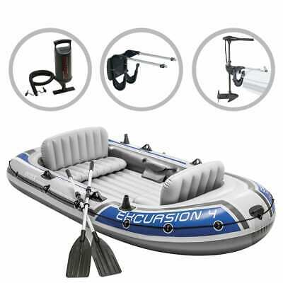 Intex Opblaasbotenset Excursion 4 met Trolling Motor Beugel Opblaasboot Boot