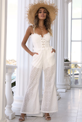 Runaway The Label White Embroidered Lace Jumpsuit Lace Up Bustier Small 6 8