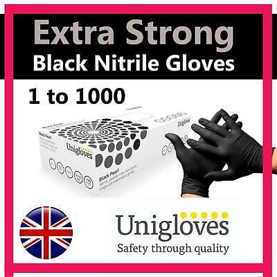 Black Nitrile Disposable Gloves Powder Latex Free Tattoo Mechanic Valeting