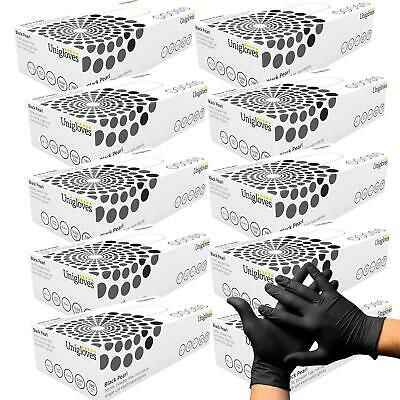 1000 Black Nitrile Disposable Gloves Powder Latex Free Tattoo Mechanic Valeting