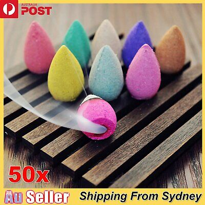 50x Natural Tower Backflow Incense Hollow Smoke Cones Buddhism Aromatherapy Home