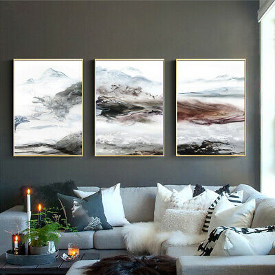 Black and white Smoke Fog Canvas Poster Abstract Art Picture Wall Hangings Decor