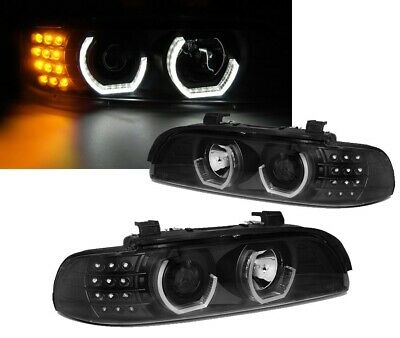2 Feux Phare Avant Angel Eyes Led 3D Bmw Serie 5 E39 Phase 1 Et 2 De 1995 A 2003