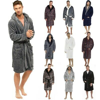 Mens Hooded Robe Novelty Or Collar Football Offical Club Fleece Long Bath Robe