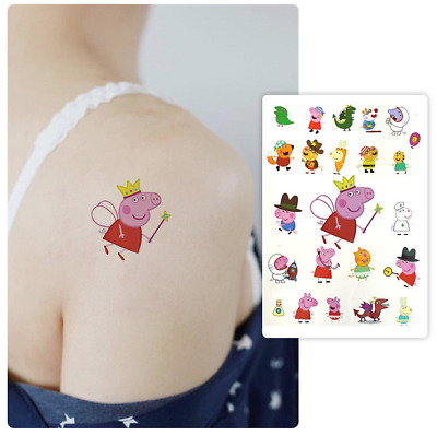 10 SHEET Kids Peppa Pig Temporary Tattoos Sticker Party Bag Fillers Boys Girls
