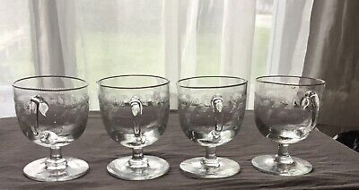 Four Antique Late Victorian Custard Cups Greek Key Design Wine Glasses 1890s.