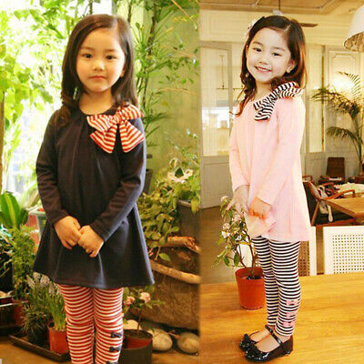 2PCS Winter Toddler Kids Baby Girls Bownot Tops+Striped Pants Clothes Outfit Set