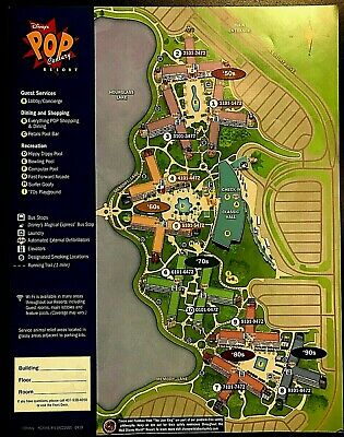 NEW 2020 Walt Disney World Pop Century Resort Map +5 Theme Park Guide Maps