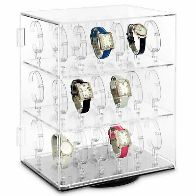 Rotating Lockable Clear Acrylic Jewellery Watch Display Case For 36 Watches