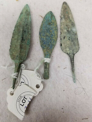 Antique Lot of 3 Antiquity Early Roman Greek Arrow Heads Points Projectile