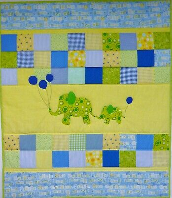 Handmade Mommy & Me Patchwork Baby Quilt - Elephants - Yellow
