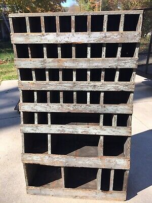PRIMITIVE WOOD CABINET AAFA 43 Hole Cubby Bin General Store Parts Bin OLD