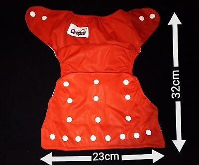 New Babywindel Nappy Reusable Size Adjustable with Buttons Red Child