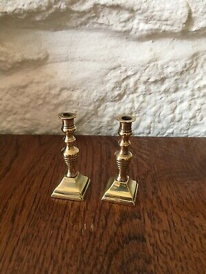 A Pair Of Very Small Vintage Antique Solid Brass Candlesticks