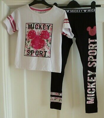 Girls Age 8-9 yrs Disney Mickey Mouse T-Shirt Top & Leggings Outfit from Primark